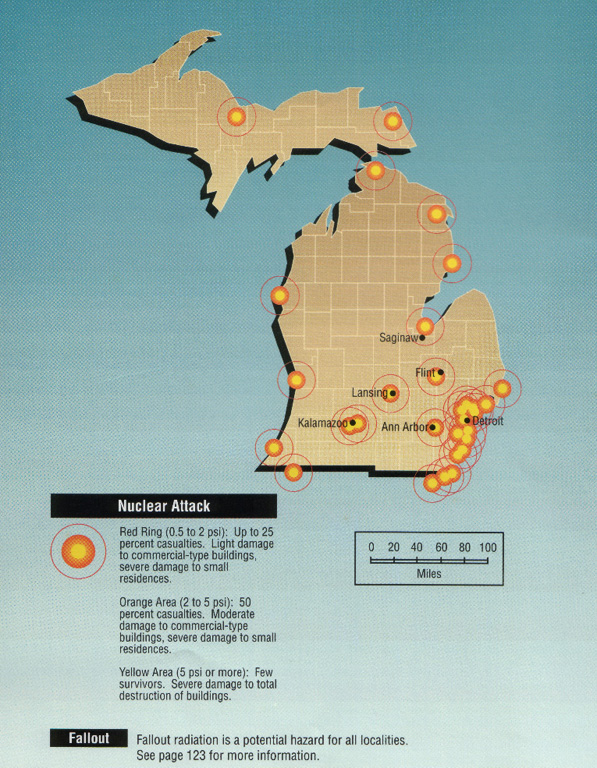 Michigan Nuclear Threats - Nuclear fallout map us