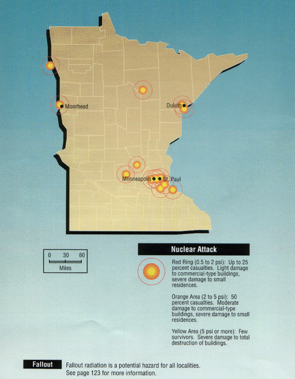 nuclear weapon target map for minnesota fema 196september 1990 minnesota targets